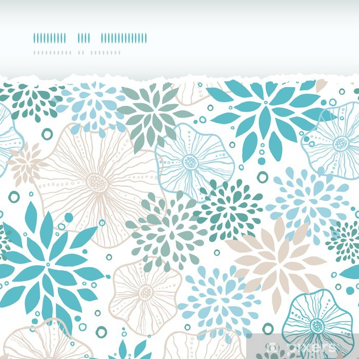 Papier Peint Vectorielle Bleu Et Gris Plantes Horizontale Arraches