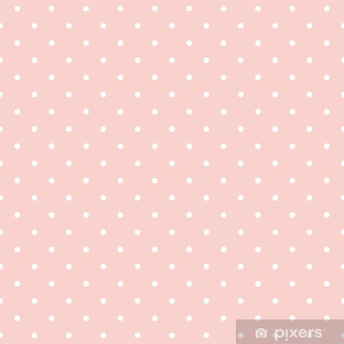 Polka dots on baby pink background seamless vector pattern Poster