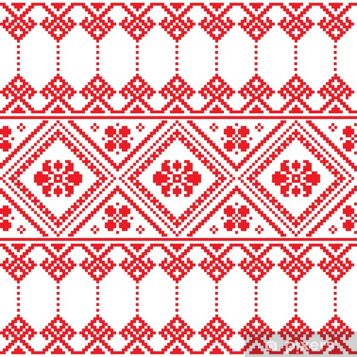 Ukrainian Folk Art Floral Embroidery Pattern Or Print Poster