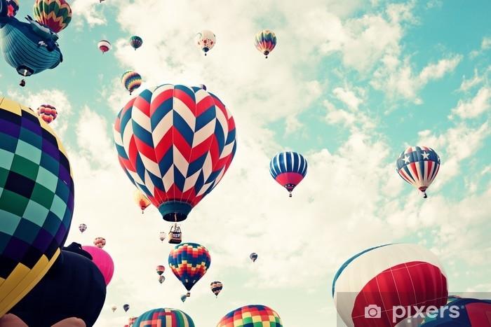 Vintage hot air balloons in flight Self-Adhesive Wall Mural - Transport