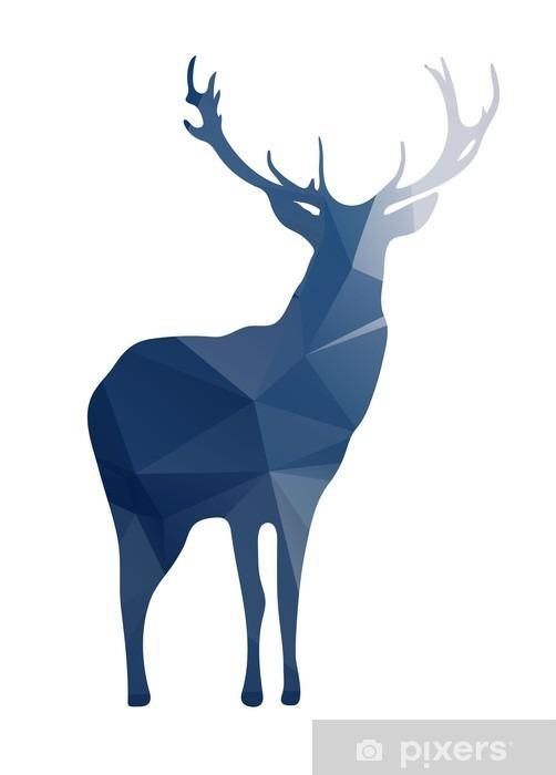 Skåpdekor Hjortsilhouette av geometriska former - Djur