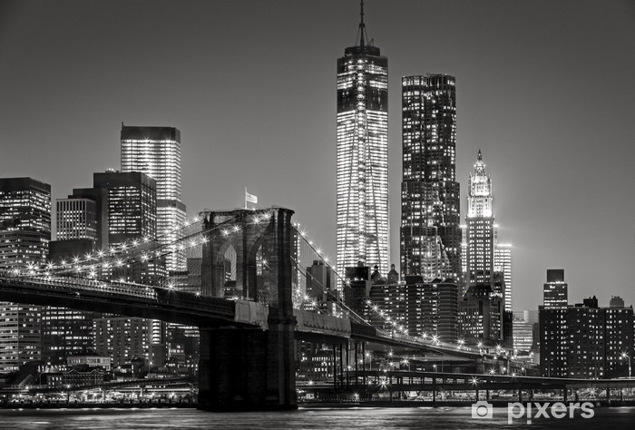 Skåpdekor New York by night. Brooklyn Bridge, Lower Manhattan - Svart en -