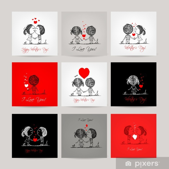 Sticker Jeu De Cartes Visite Couple Dans Lamour Ensemble Pixerstick