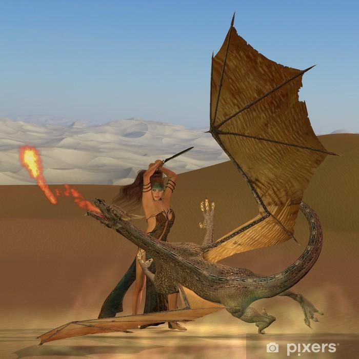 Pixerstick Sticker Sleedoorn Warrior Kills Dragon - Thema's