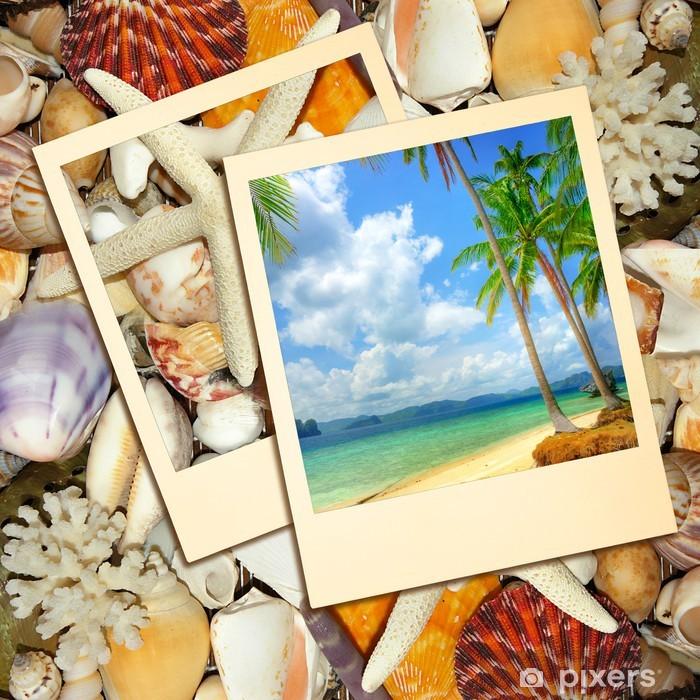 Sticker Pixerstick Souvenirs tropicale - Fond d'été - Vacances