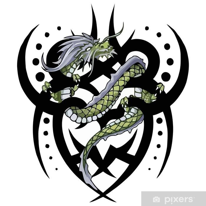 Dragon Tribal Tatouage sticker tatouage de dragon tribal torsion, vecteur • pixers® - nous