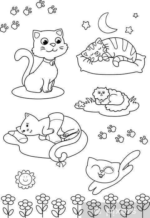Vinilo Pixerstick Cinco gatos lindos página para colorear para los ...