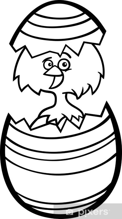 Vinilo Pixerstick Pollo en huevo de Pascua de dibujos animados para ...
