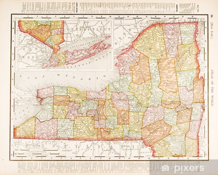 Map Of New York State Usa.Antique Vintage Color Map Of New York State Usa Wall Mural Pixers