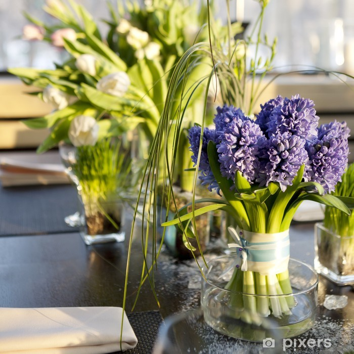 Bouquet Of Hyacinth In Vase Gl Vinyl Wall Mural Flowers