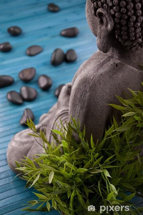 Buddha Mit Bambus Massage Steinen Und Schale Mit Bluten Wall Mural