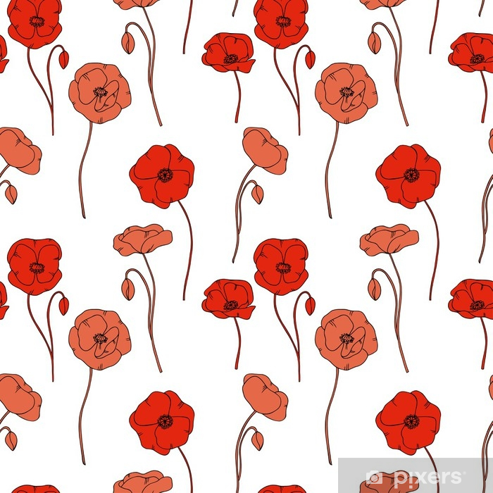 Color vector simple illustration of decorative poppy flower pattern color vector simple illustration of decorative poppy flower pattern on white background vinyl wall mural mightylinksfo