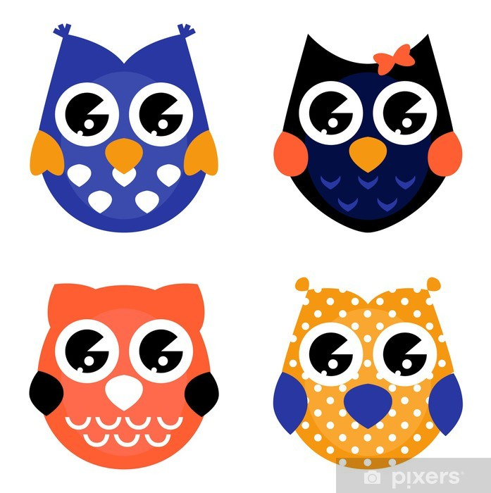 Cute Halloween Owls Collection Isolated On White Vinyl Wall Mural