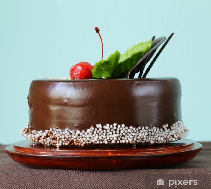 Festive Beautiful Chocolate Cake With Icing And Cherry Wall Mural