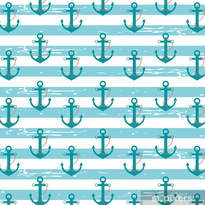 Nautical Anchors Illustration Pattern With Nautical Ship Anchors In