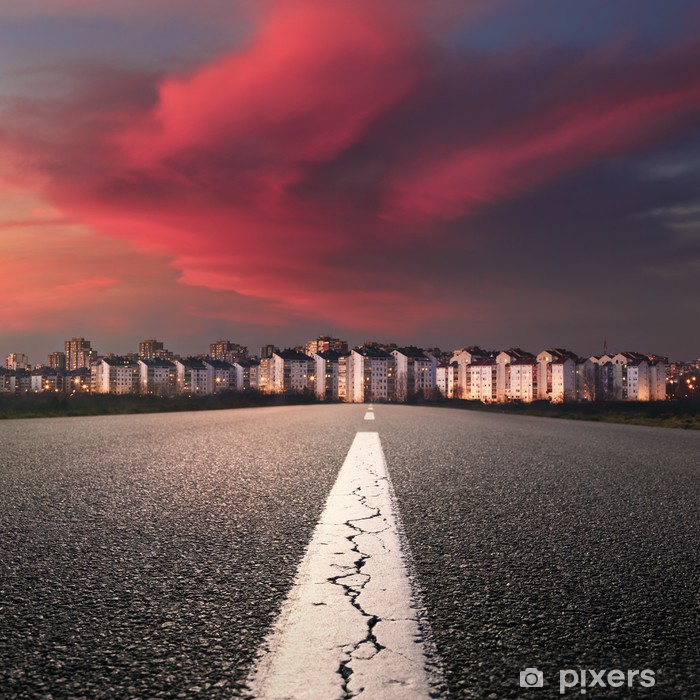 Open Road Entry Into The City At Sunset Wall Mural Pixers We