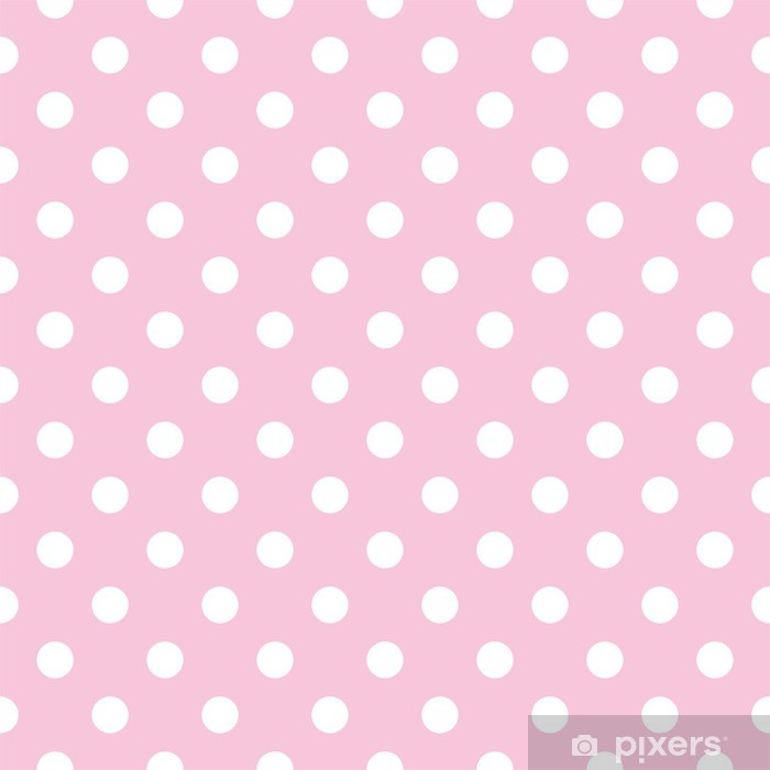 Polka dots on baby pink background retro seamless vector pattern Vinyl Wall Mural - Themes