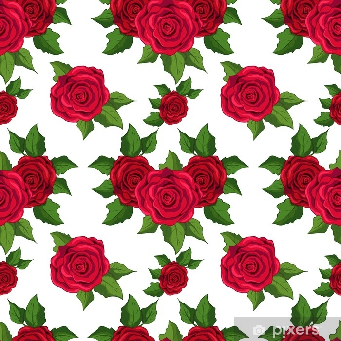 Seamless Floral Pattern Wallpaper With Red Roses On White Background Vinyl Wall Mural