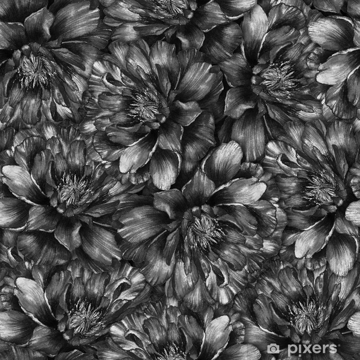 Seamless Watercolor Pattern With Black And White Peonies Hand Drawn Monochrome Illustration Design