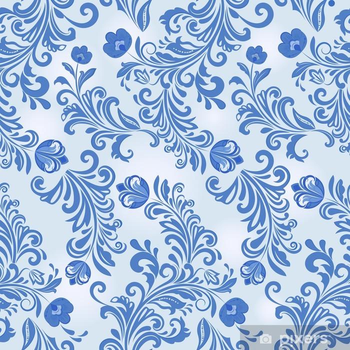 Seamless Winter Blue Flower Wallpaper Pattern Vinyl Wall Mural