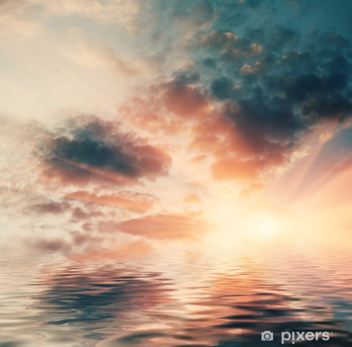 Sunset In Ocean Sun Setting Over The Ocean Wall Mural Pixers