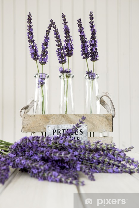 Three Small Vases With Lavender On A White Table Wall Mural Pixers