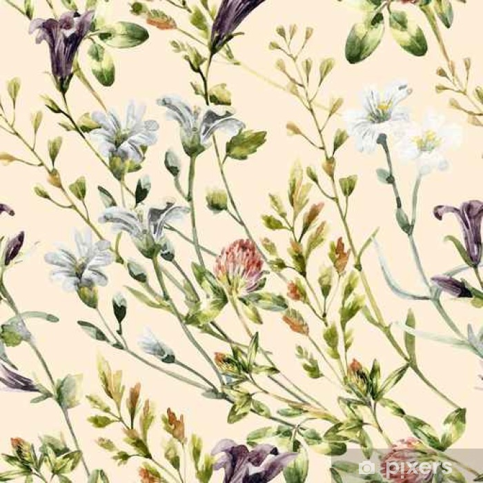 Watercolor wild flowers seamless pattern. Vinyl Wall Mural - Plants and Flowers