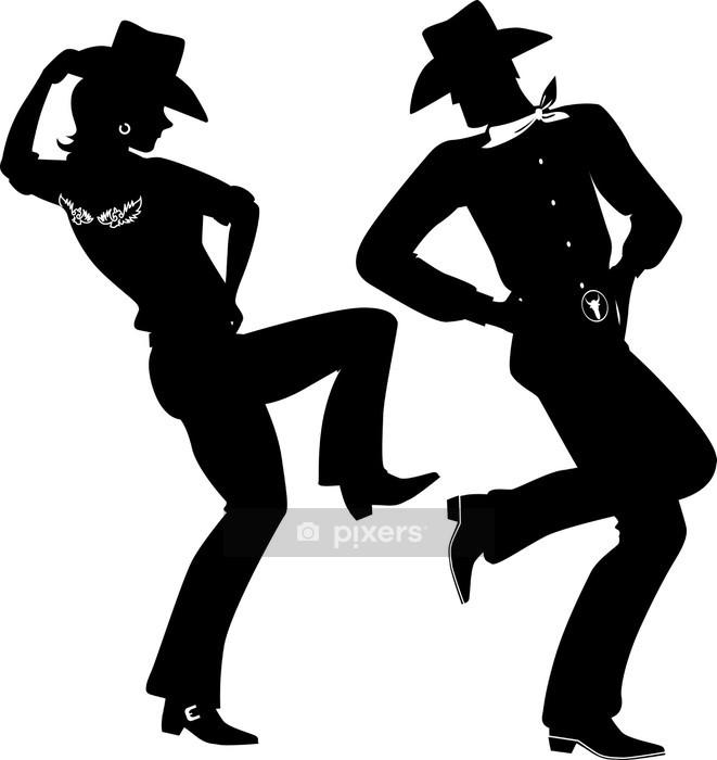 Wandtattoo silhouette eines cowboy und cowgirl tanz country western pixers wir leben um zu - Wandtattoo cowboy ...