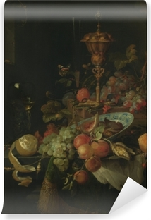Abwaschbare Fototapete Abraham Mignon - Still life with fruit and a bowl on a roosters leg