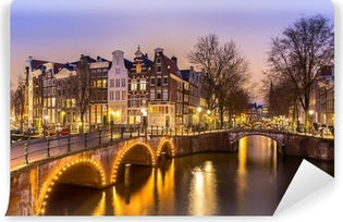 Abwaschbare Fototapete Amsterdamer Grachten am Abend
