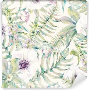Abwaschbare Fototapete Aquarell Blatt nahtlose Muster mit Farnen und Blumen