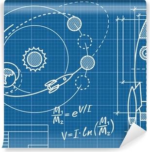 Abwaschbare Fototapete Blaupause des Raumschiffes und seiner Flugbahn