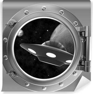 Abwaschbare Fototapete Bullauge mit Blick auf das ufo