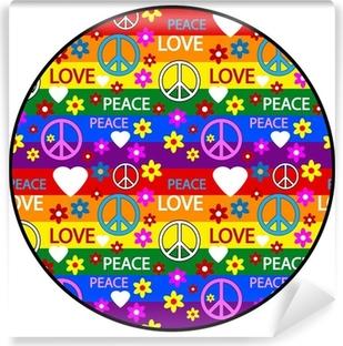 Abwaschbare Fototapete Button mit Symbolen der Hippie