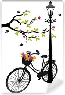 Abwaschbare Fototapete Fahrrad mit Lampe, Blumen und Bäumen, Vektor