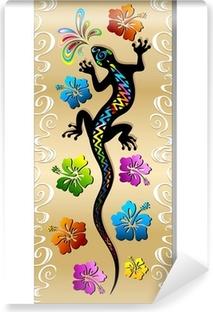 Abwaschbare Fototapete Gecko Reptilien und Hibiscus Tattoo Design Tattoo Gecko-Banner