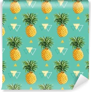 Abwaschbare Fototapete Geometrische Ananas Hintergrund - nahtlose Muster im Vektor