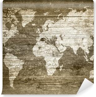 Abwaschbare Fototapete Grungewood - Weltkarte