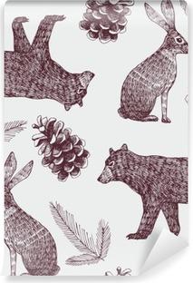 Abwaschbare Fototapete Hand gezeichnet Winter trendy nahtlose Hintergrund