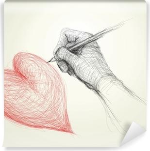 Leinwandbild Baum Mit Wurzeln Wie Herz Surreal Realistische Skizze