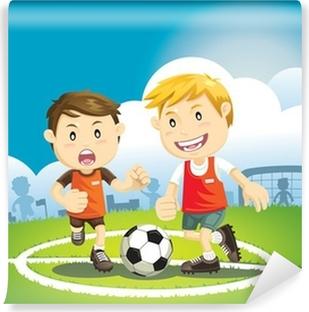 Poster Cartoon Kind Spielt Fussball Pixers Wir Leben Um