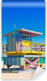 Abwaschbare Fototapete Lifeguard Tower in South Beach, Miami Beach, Florida