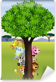 Abwaschbare Fototapete Lustige safari animal cartoon