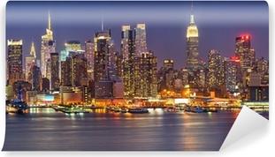 Abwaschbare Fototapete Manhattan bei Nacht