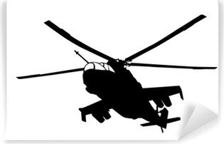 Abwaschbare Fototapete Mi-24 (Hind) Hubschrauber Silhouette