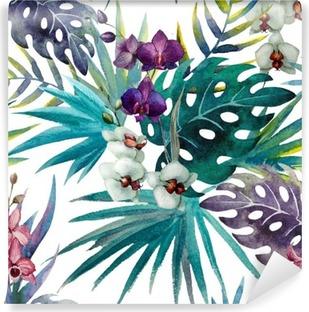 Abwaschbare Fototapete Muster mit Hibiskus- und Orchideenblättern, Aquarell