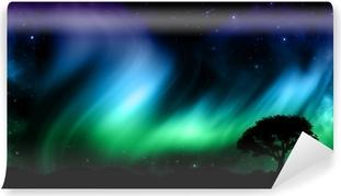 Abwaschbare Fototapete Nachthimmel mit norther Leuchten mit Baum Silhouetten
