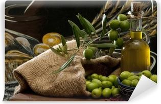 Abwaschbare Fototapete Oliven und Öl