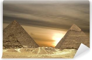 Abwaschbare Fototapete Pyramiden Sonnenuntergang Drama