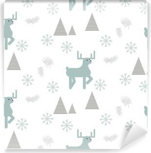 Abwaschbare Fototapete Rentiere in einem verschneiten Wald nahtlose Vektor-Muster. Skandinavischen Stil weißen und blauen Pastellhintergrund.